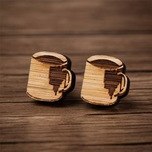 NEW Morning Coffee Cup Vintage Wood Stud Earrings